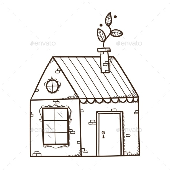 House with Chimney. - Nature Conceptual