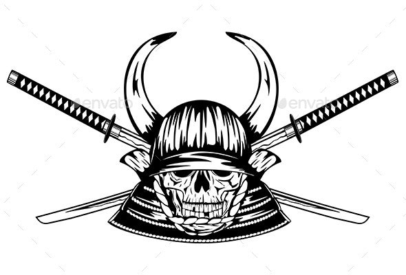 Skull in Samurai Helmet with Horns and Swords - Miscellaneous Characters