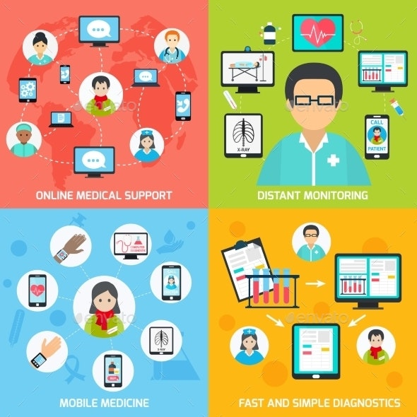Mobile Health Icons Set - Concepts Business