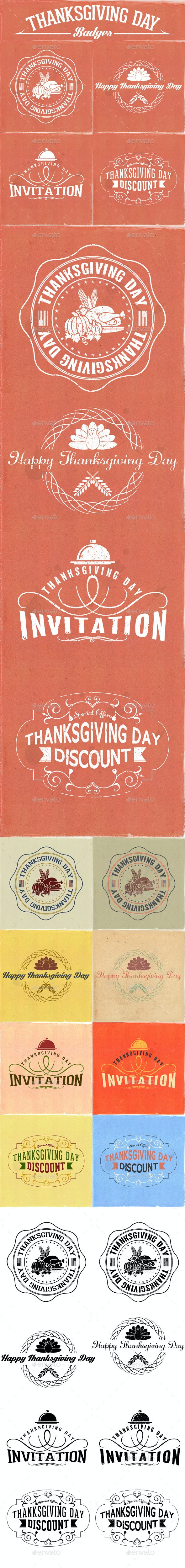 Thanksgiving Day Badges - Badges & Stickers Web Elements