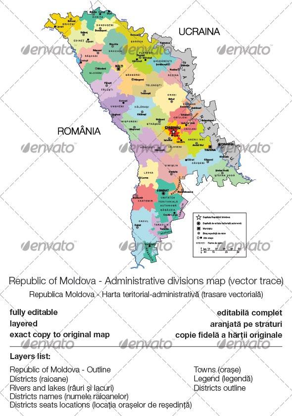 Republic of Moldova - Administrative Divisions - Miscellaneous Vectors