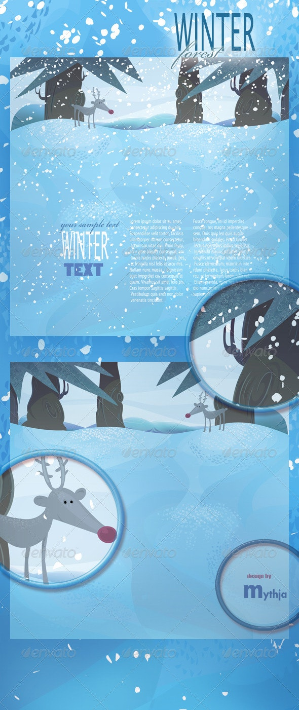 Vector winter landscape with frozen meadow - Landscapes Nature