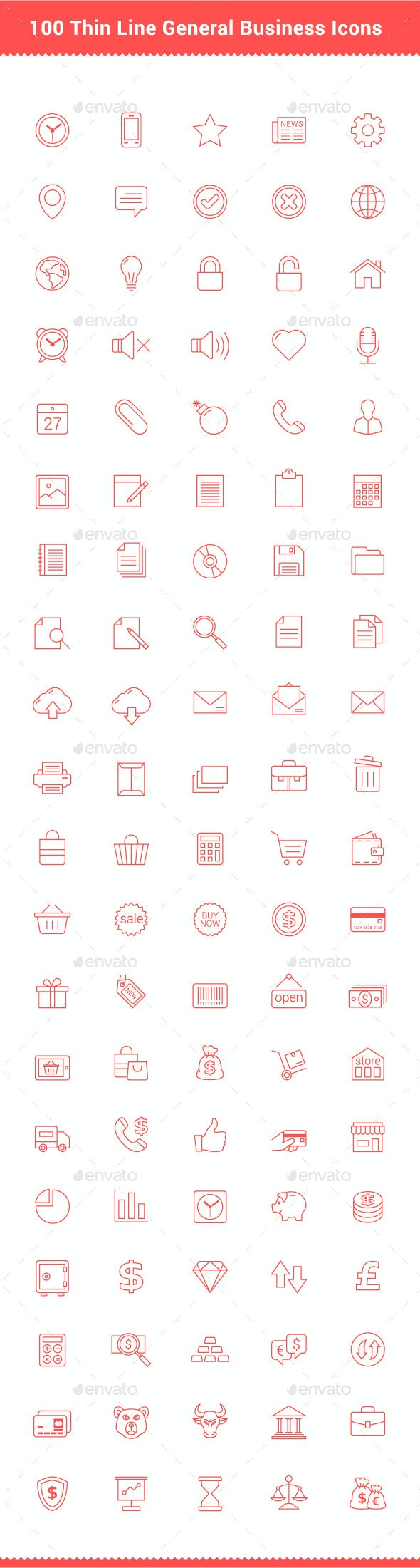 100 Thin Line Stroke General Business Icons - Business Icons