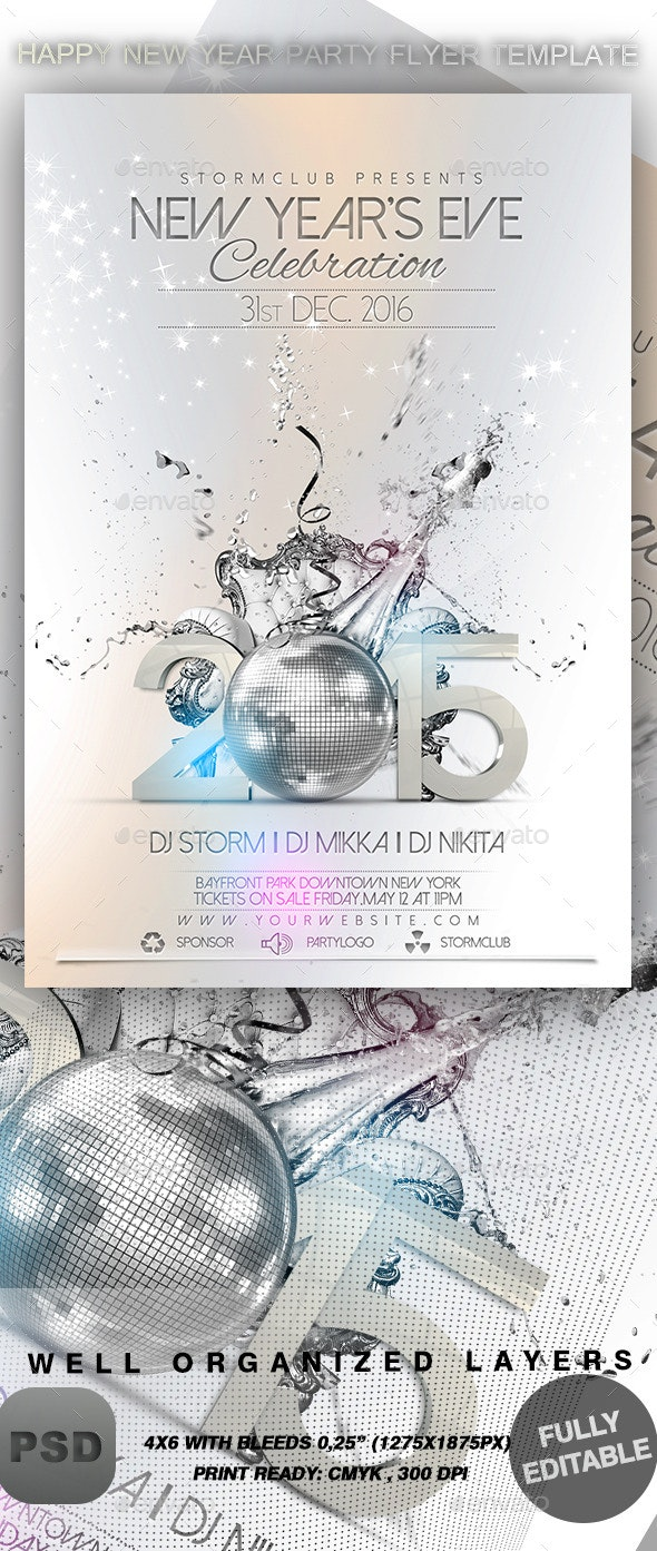 Happy New Year Party Flyer Template - Events Flyers