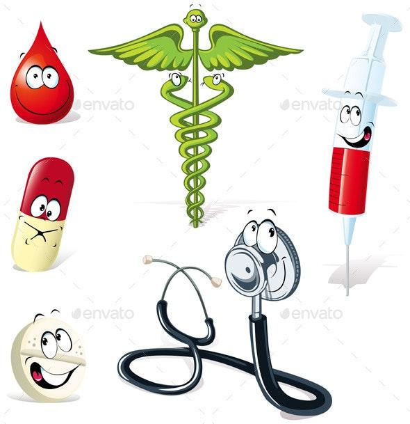 Medical Symbols with Human Faces - Characters Vectors