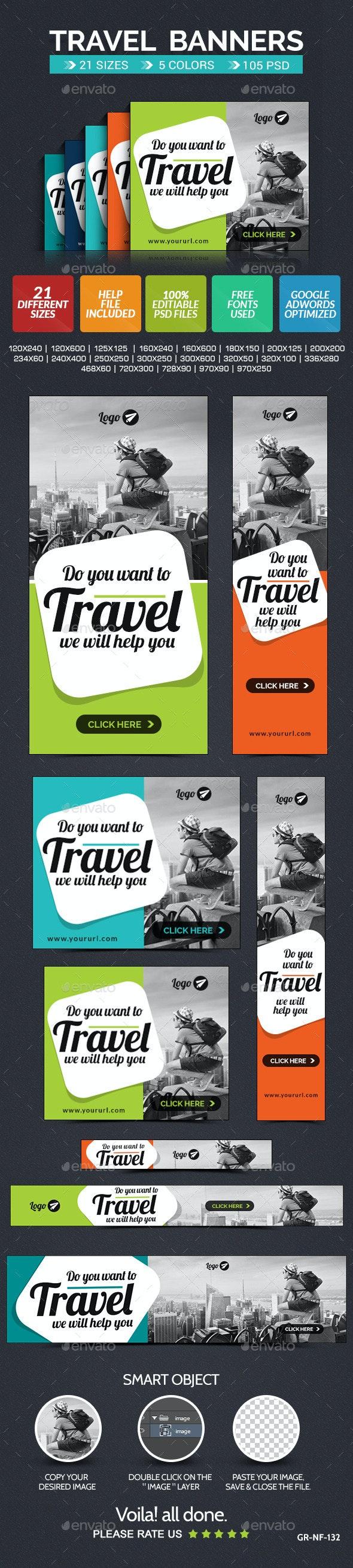 Travel Web Banner Set - 5 colors - Banners & Ads Web Elements