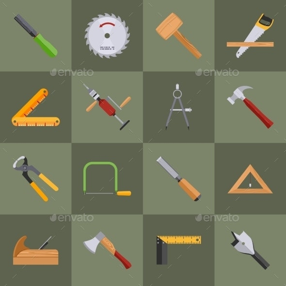 Carpentry Tools Icons - Web Technology