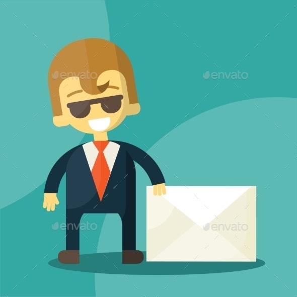 Set of Businessman Holding Letter  - Business Conceptual