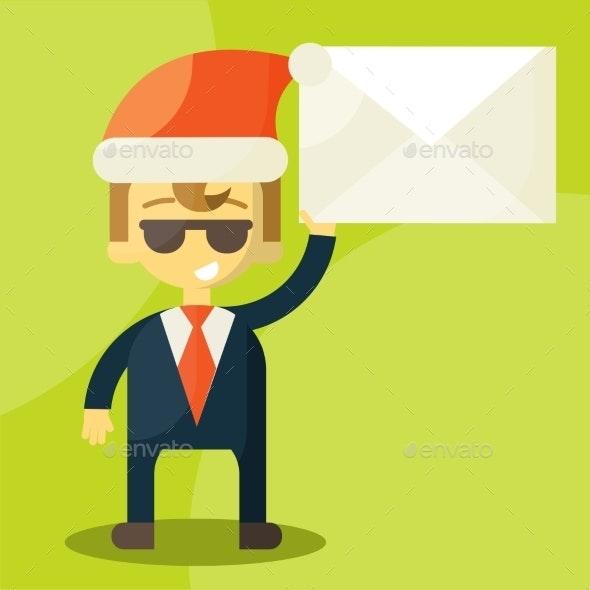 Happy Businessman in Santa Claus Hat  - Business Conceptual