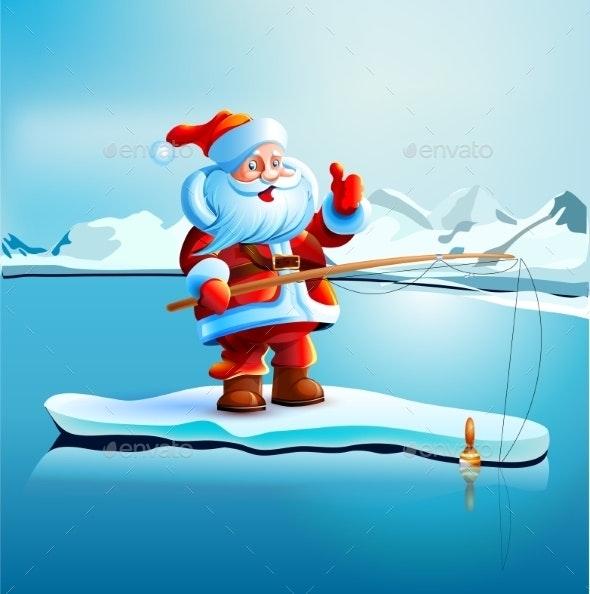 Santa Claus Shows Thumbs Up - Christmas Seasons/Holidays