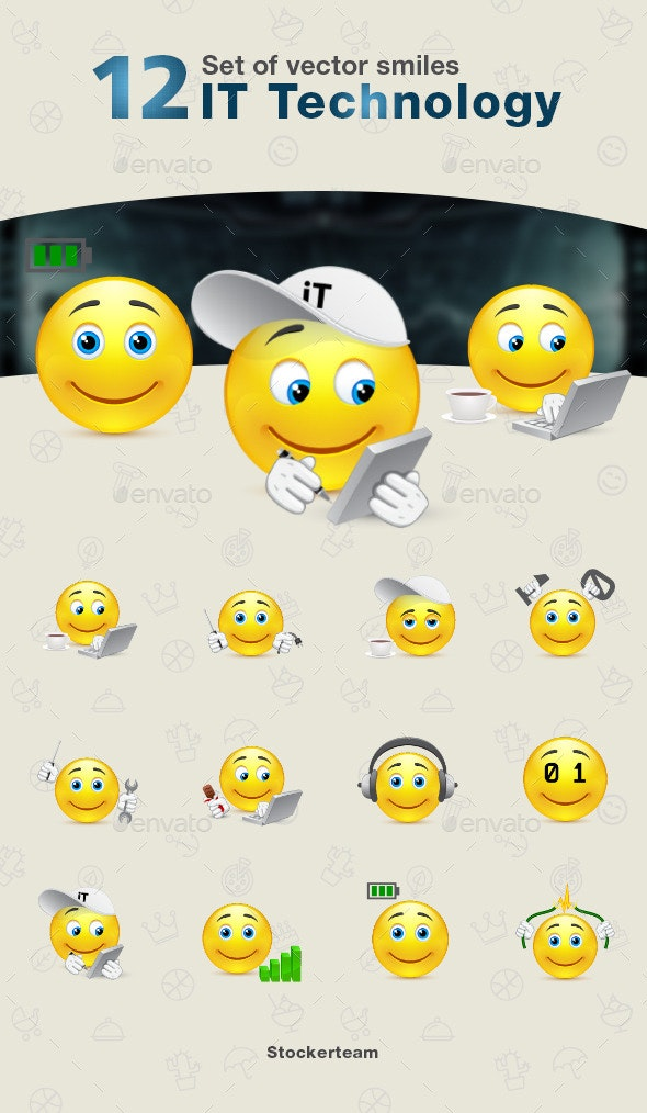 Smiles 12 IT Technology - Characters Vectors