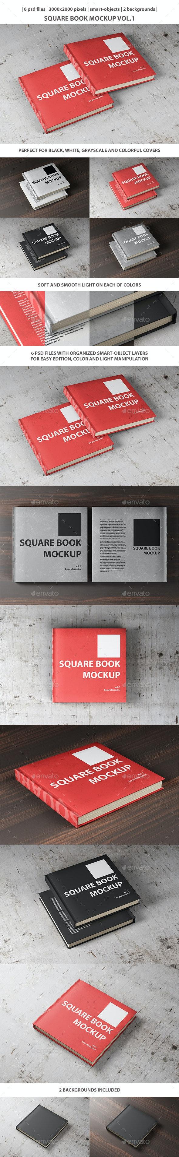 Square Book Mockup Vol. 1 - Books Print