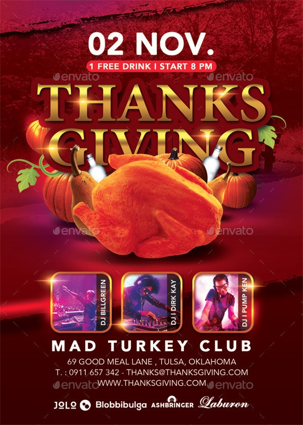 Thanksgiving Special Party In Turkey Club - Events Flyers