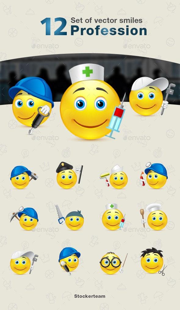 Smiles 12 Profession - Characters Vectors