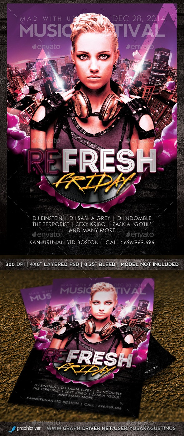 Refresh Friday Flyer - Clubs & Parties Events