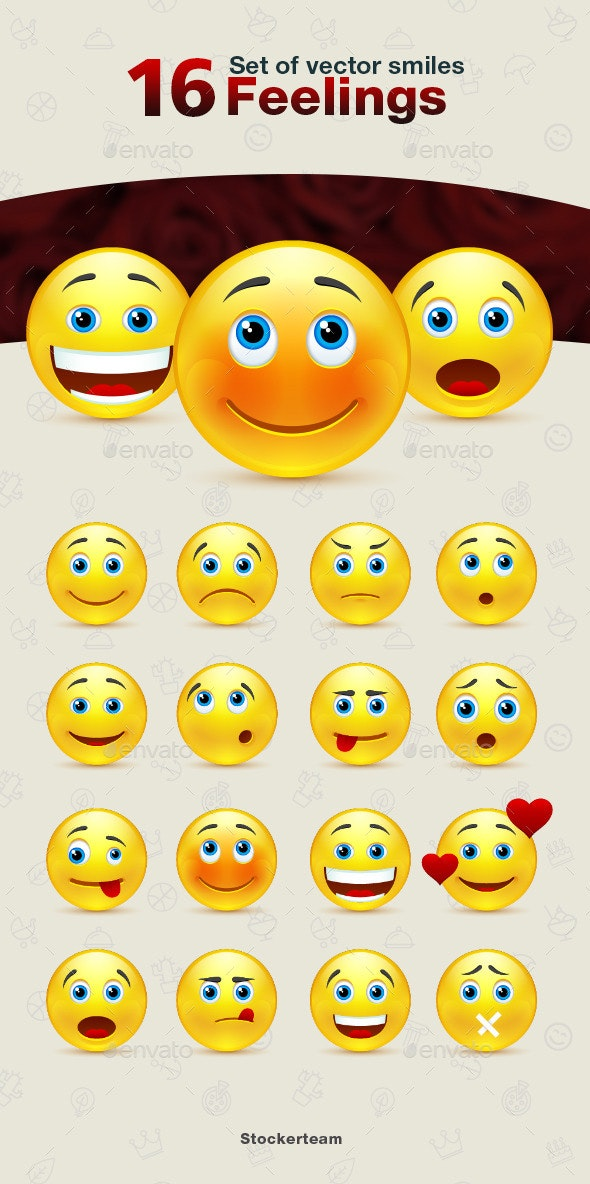 Set of Feelings Smiles - Characters Vectors