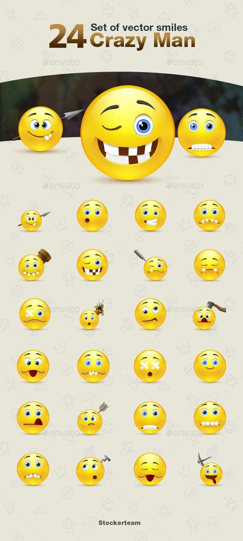 Smiles 24 Crazy Man - Characters Vectors