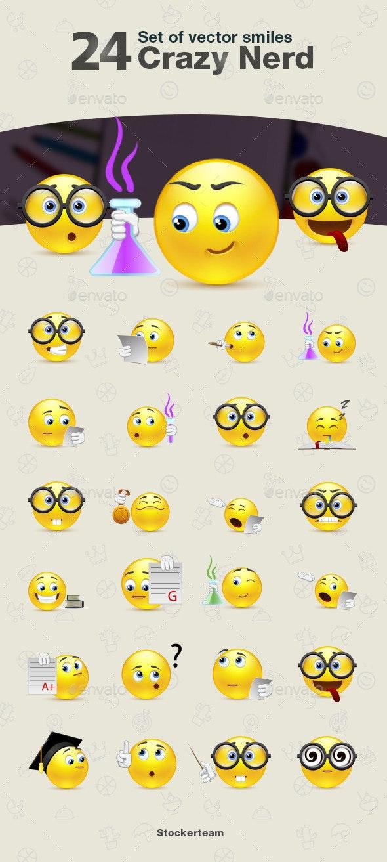 Set of Crazy Nerd Smiles - Characters Vectors
