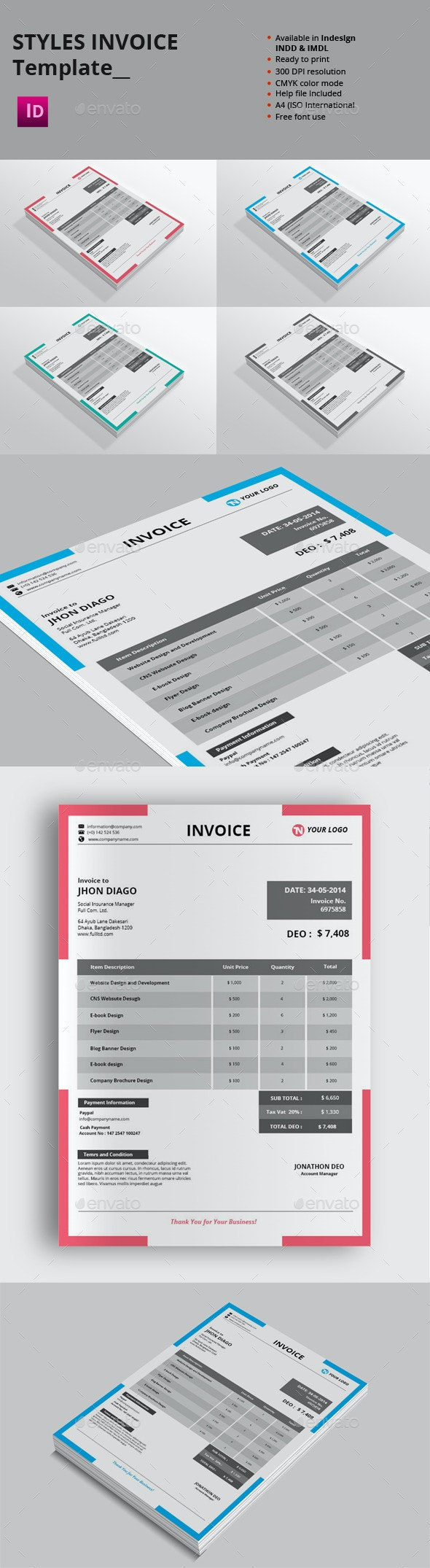 Styles Invoice Templates - Proposals & Invoices Stationery