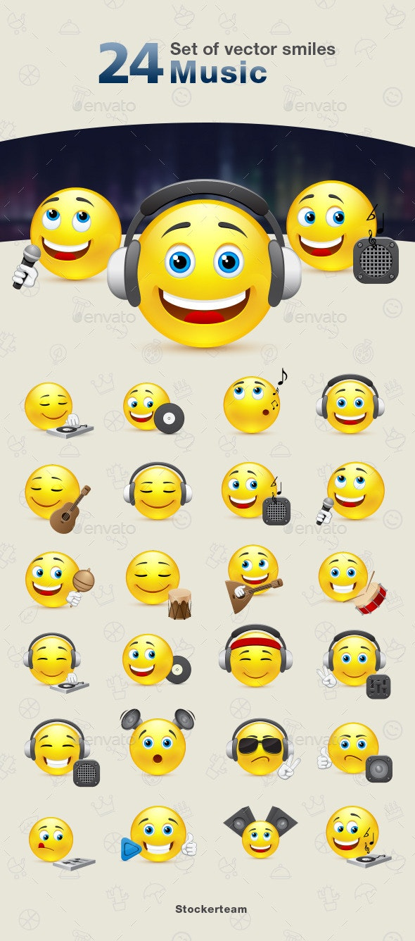 Smiles 24 Music - Characters Vectors