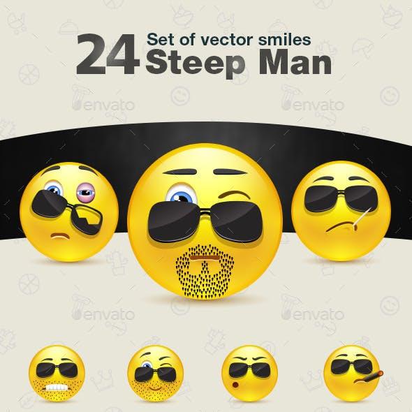 Set of Steep Man Smiles