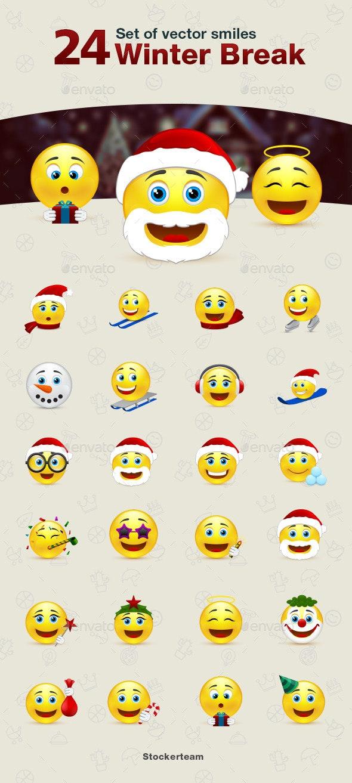 Set of Winter Break Smiles - Miscellaneous Characters