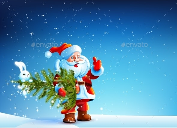 Santa Claus Standing in Snow with a Tree - Christmas Seasons/Holidays