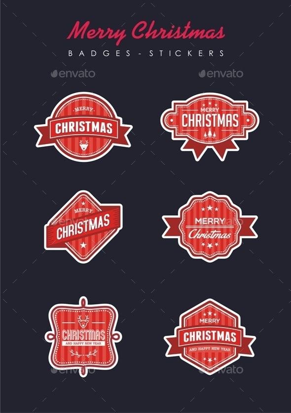 Merry Christmas Badges - Christmas Seasons/Holidays