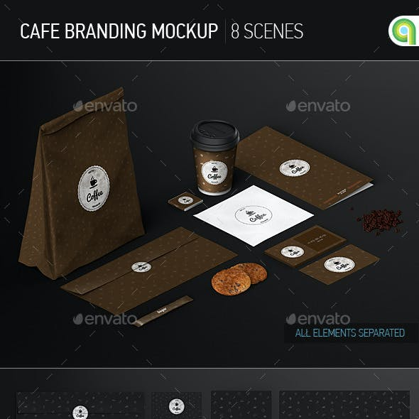 Cafe Branding / Identity / Coffee cup Mock-Up