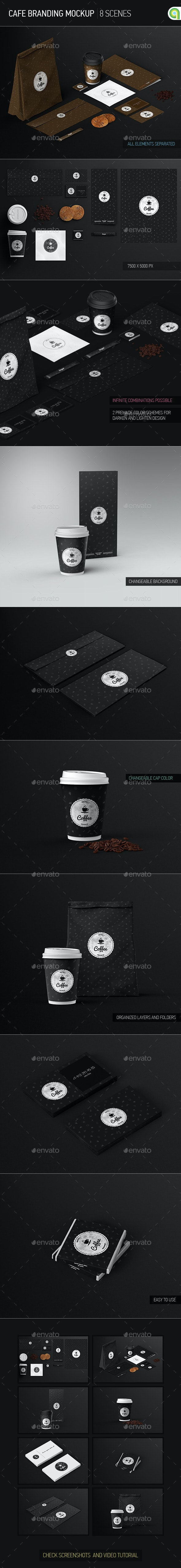 Cafe Branding / Identity / Coffee cup Mock-Up - Food and Drink Packaging