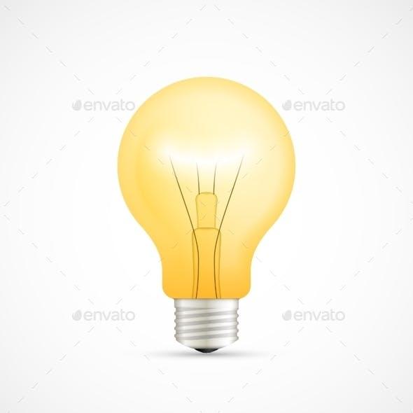 Realistic Glowing Yellow Light Bulb