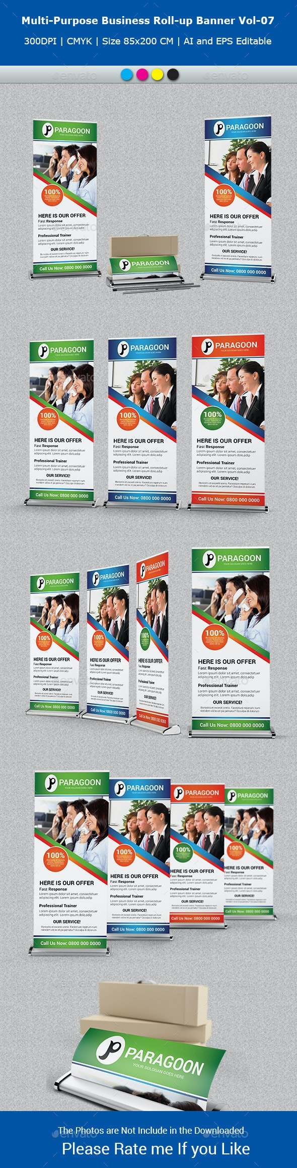 Multipurpose Business Roll-Up Banner Vol-07 - Signage Print Templates