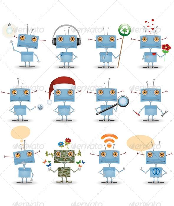 Cartoon Robot Set - Miscellaneous Characters