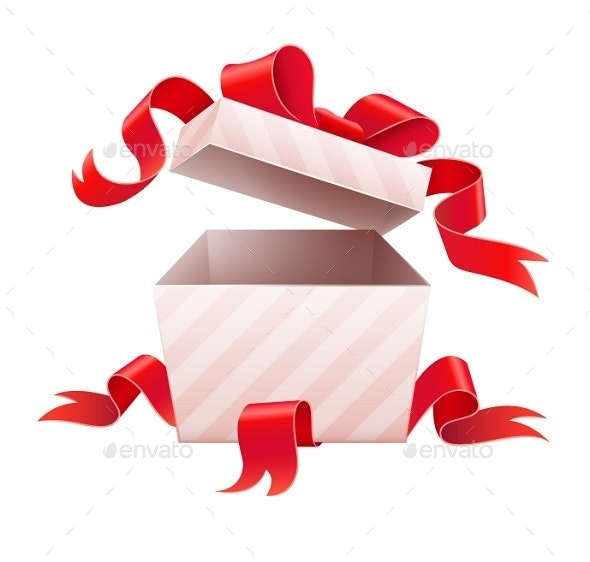 Open Box with Ribbon For Holiday Gift - Man-made Objects Objects