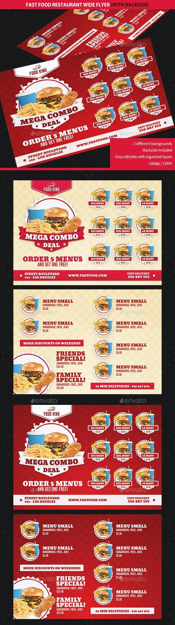 Restaurant Fast Food Promotions Wide Flyer - Restaurant Flyers