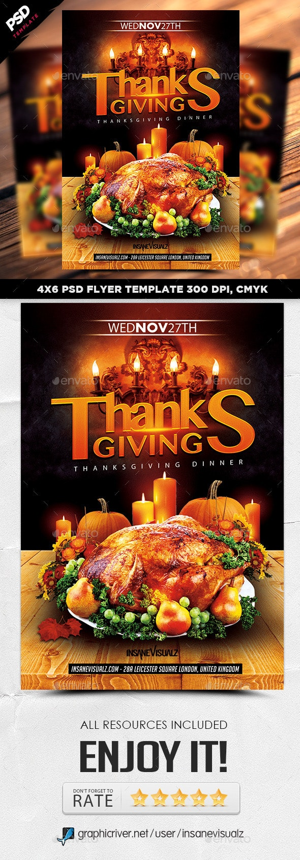 Thanksgiving Dinner Flyer - Holidays Events