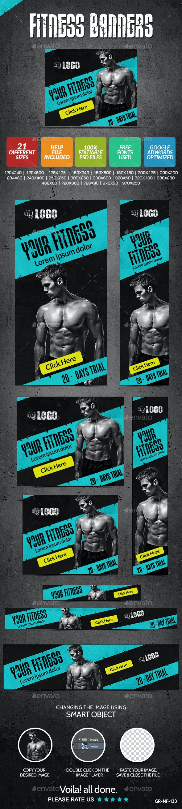 Fitness & Gym Banners - Banners & Ads Web Elements