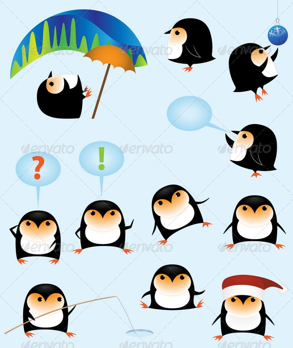 Funny cartoon penguins - Animals Characters