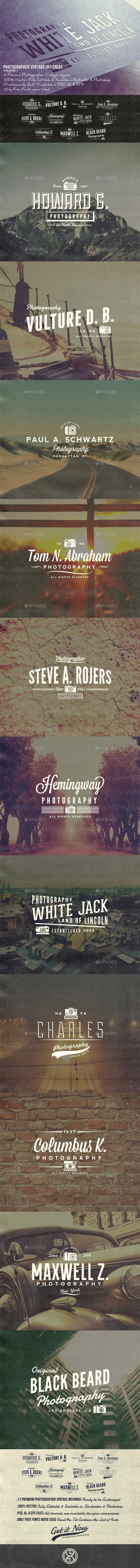 Photographer Vintage Insignias Volume 1 - Badges & Stickers Web Elements