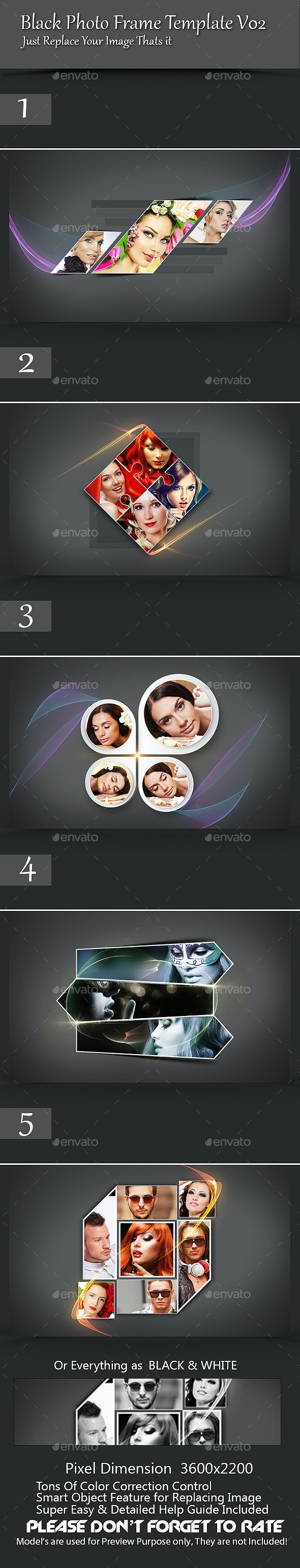 Black Photo Frame Template V02 - Photo Templates Graphics