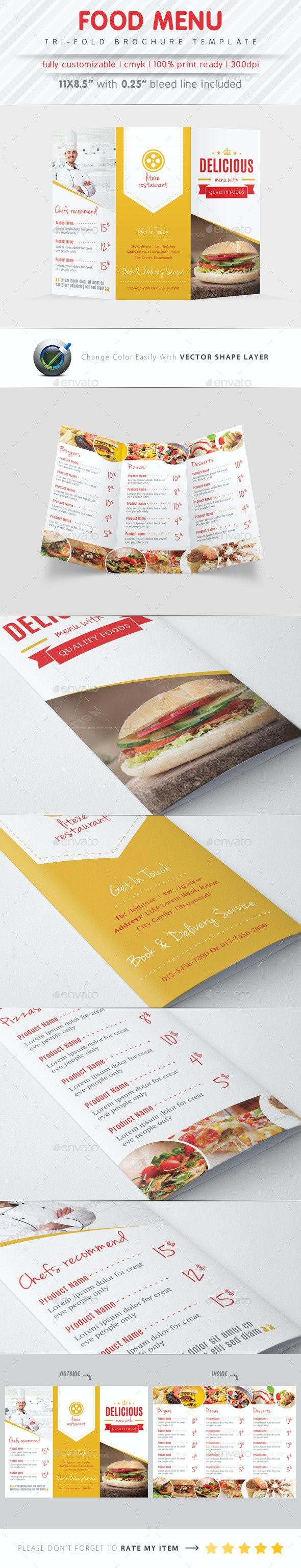 Food Menu Tri Fold Brochure - Food Menus Print Templates
