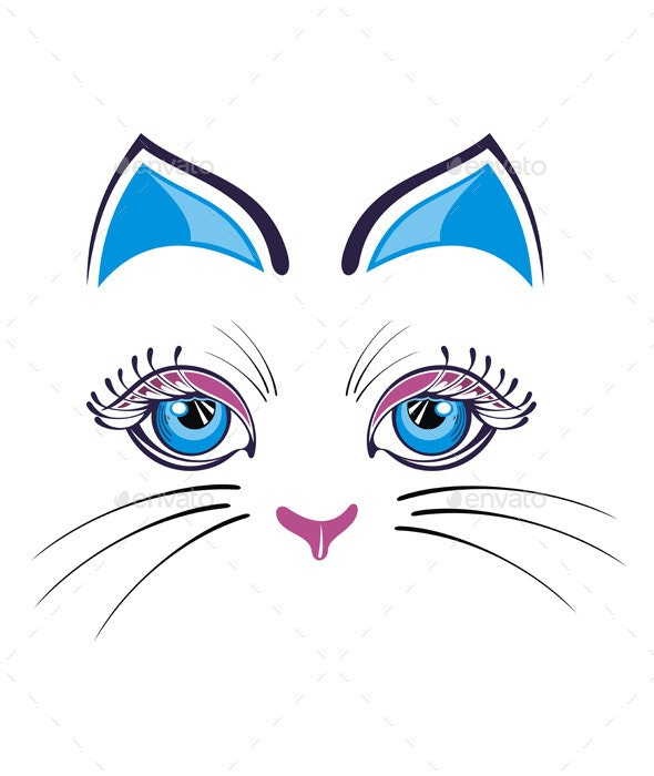 Cat with Blue Ears - Animals Characters