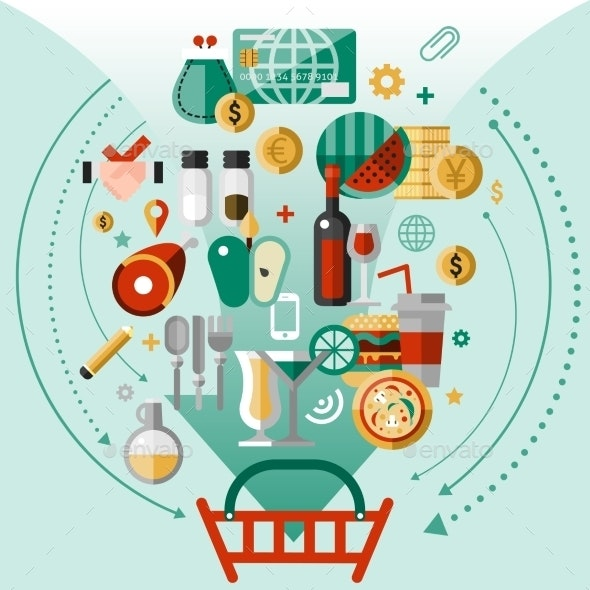 Food Icons Basket - Food Objects
