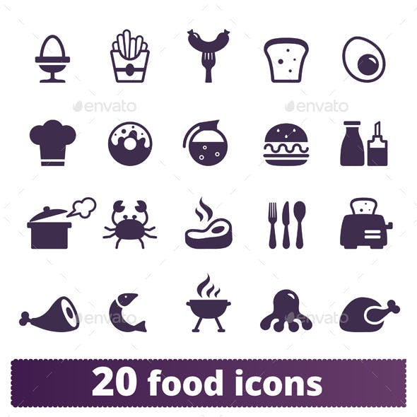 Food Icons: Vector Set.