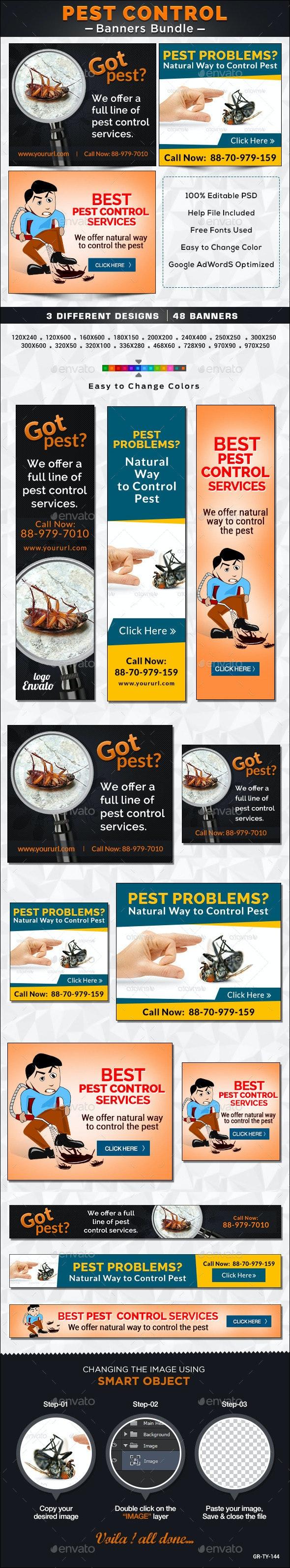 Pest Control Banner Bundle - 3 Sets - Banners & Ads Web Elements