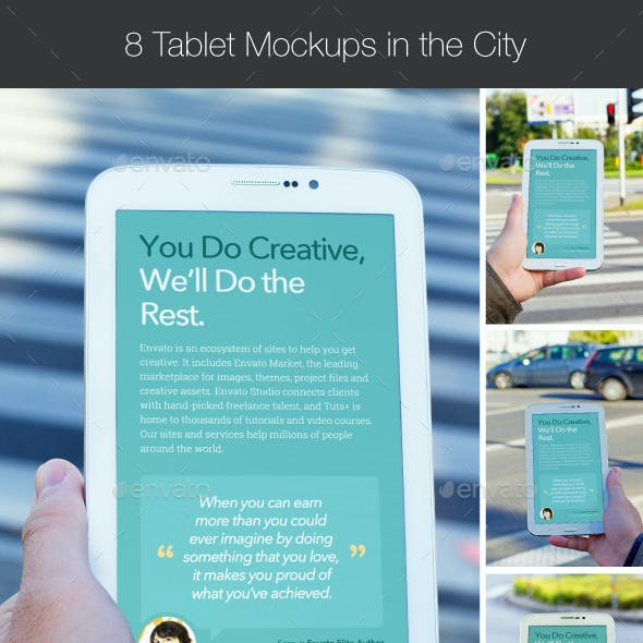 8 Tablet Mockups in the City