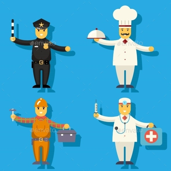 Cartoon Chief Cook Worker Repairer Police Officer  - People Characters