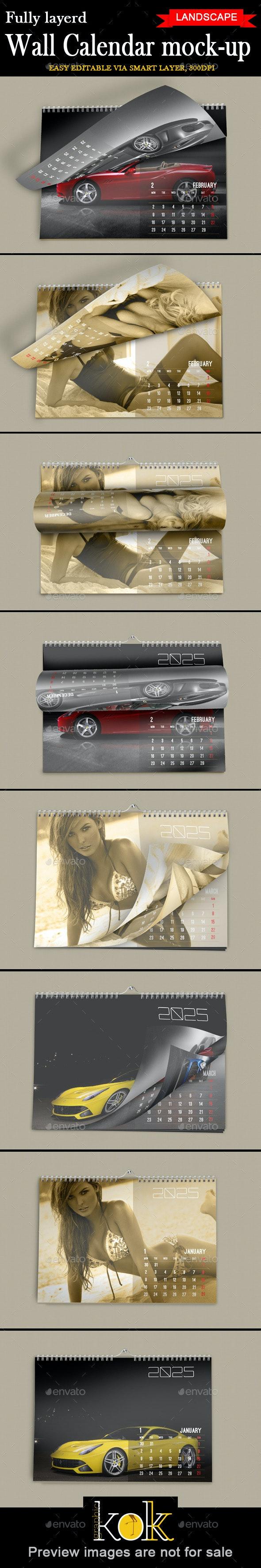 Wall Calendar Mockup Landscape Model - Product Mock-Ups Graphics