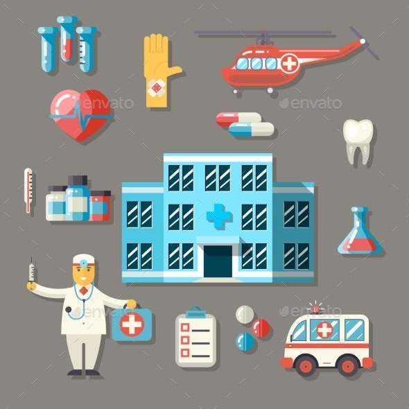 Medical Hospital Ambulance Healthcare Doctor Flat  - Health/Medicine Conceptual