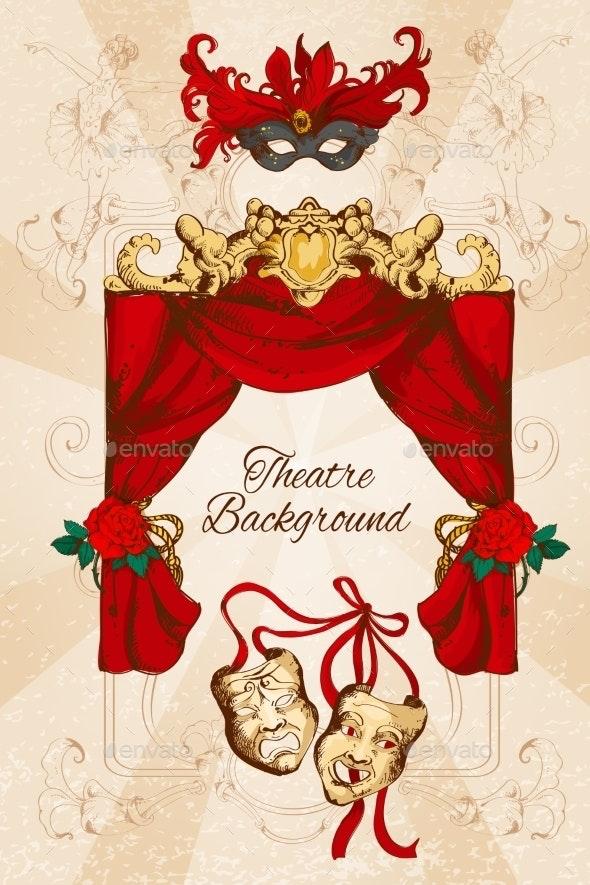 Theatre Sketch Background - Borders Decorative